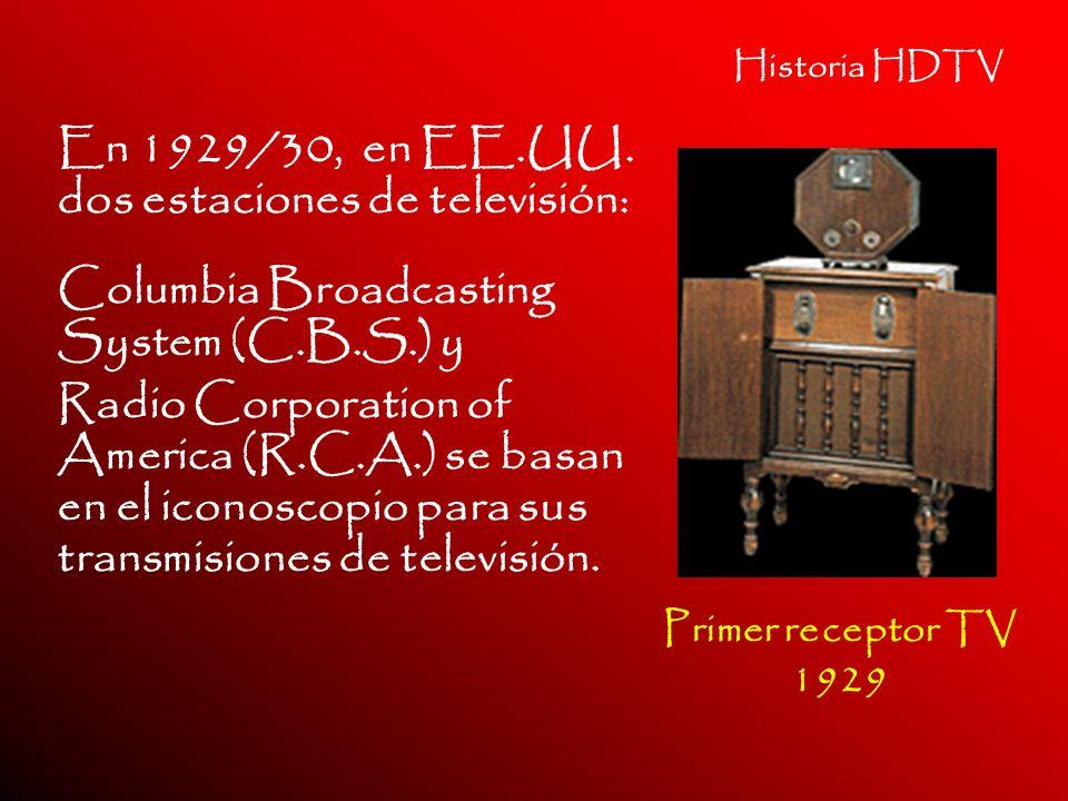 Historia HDTV En 1929/30, en EE.UU. dos estaciones de televisión: Columbia Broadcasting System (C.B.S.) y Radio Corporation of America (R.C.A.) se bas