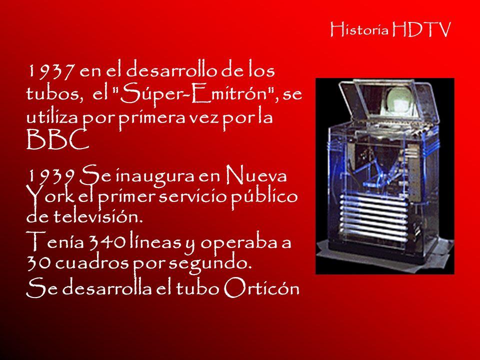 Historia HDTV 1937 en el desarrollo de los tubos, el