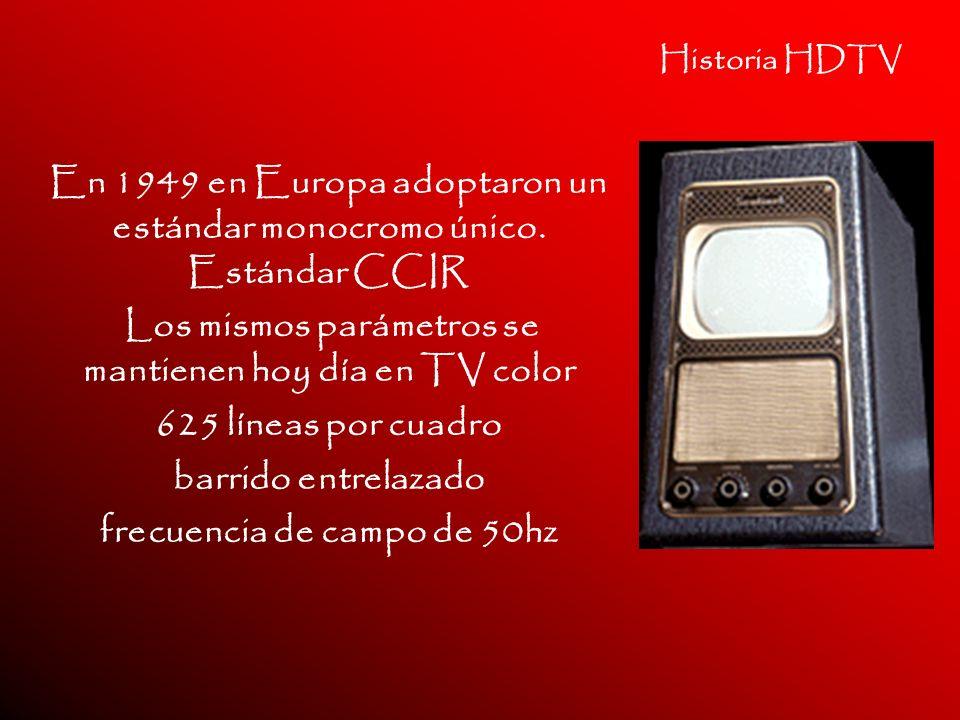 Historia HDTV En 1949 en Europa adoptaron un estándar monocromo único. Estándar CCIR Los mismos parámetros se mantienen hoy día en TV color 625 líneas