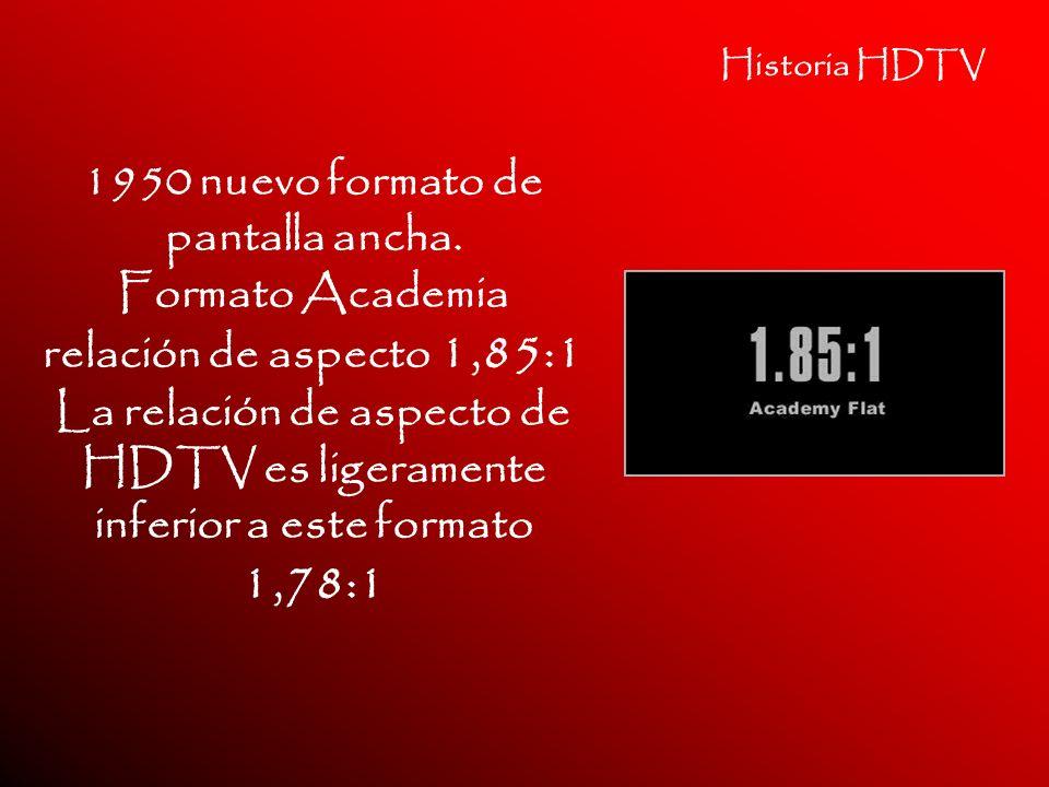 Historia HDTV 1950 nuevo formato de pantalla ancha. Formato Academia relación de aspecto 1,85:1 La relación de aspecto de HDTV es ligeramente inferior