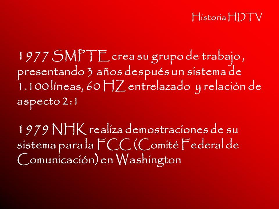 Historia HDTV 1977 SMPTE crea su grupo de trabajo, presentando 3 años después un sistema de 1.100 líneas, 60 HZ entrelazado y relación de aspecto 2:1