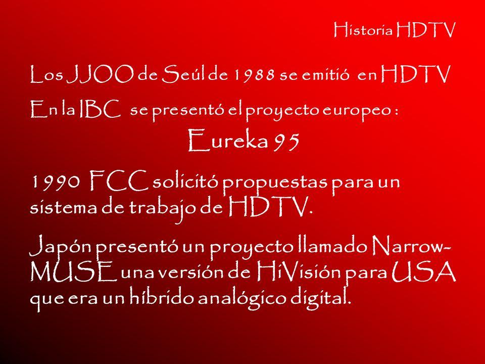 Historia HDTV Los JJOO de Seúl de 1988 se emitió en HDTV En la IBC se presentó el proyecto europeo : Eureka 95 1990 FCC solicitó propuestas para un si