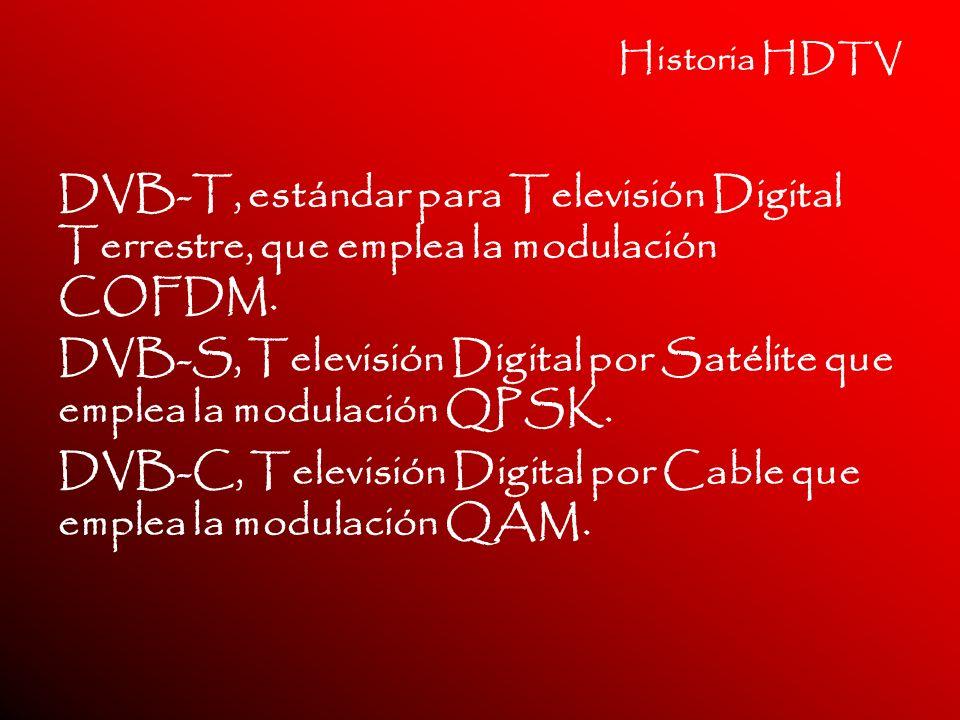 Historia HDTV DVB-T, estándar para Televisión Digital Terrestre, que emplea la modulación COFDM. DVB-S, Televisión Digital por Satélite que emplea la