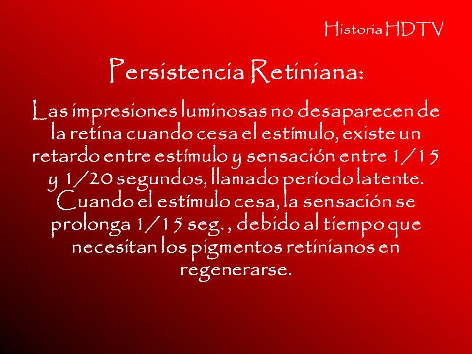 Historia HDTV Persistencia Retiniana: Las impresiones luminosas no desaparecen de la retina cuando cesa el estímulo, existe un retardo entre estímulo