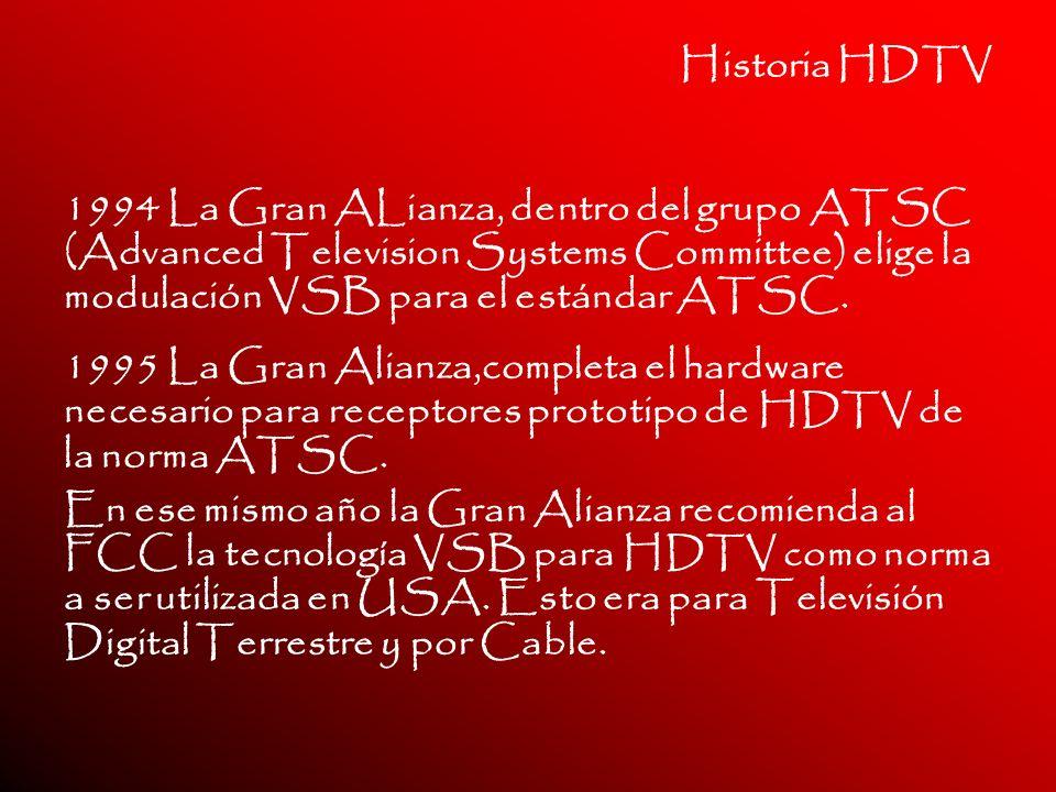 Historia HDTV 1994 La Gran ALianza, dentro del grupo ATSC (Advanced Television Systems Committee) elige la modulación VSB para el estándar ATSC. 1995