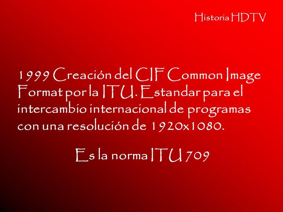 Historia HDTV 1999 Creación del CIF Common Image Format por la ITU. Estandar para el intercambio internacional de programas con una resolución de 1920