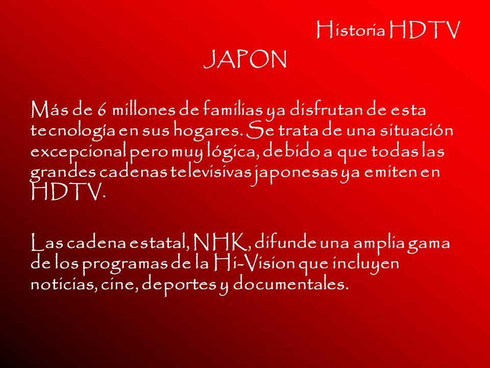Historia HDTV JAPON Más de 6 millones de familias ya disfrutan de esta tecnología en sus hogares. Se trata de una situación excepcional pero muy lógic