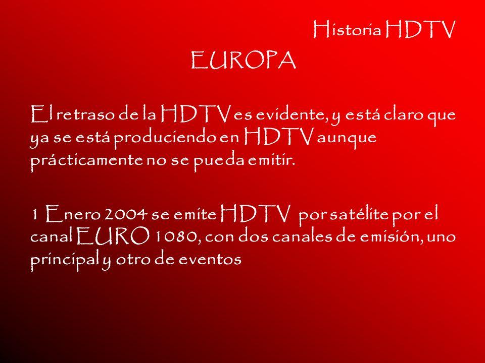 Historia HDTV EUROPA El retraso de la HDTV es evidente, y está claro que ya se está produciendo en HDTV aunque prácticamente no se pueda emitir. 1 Ene