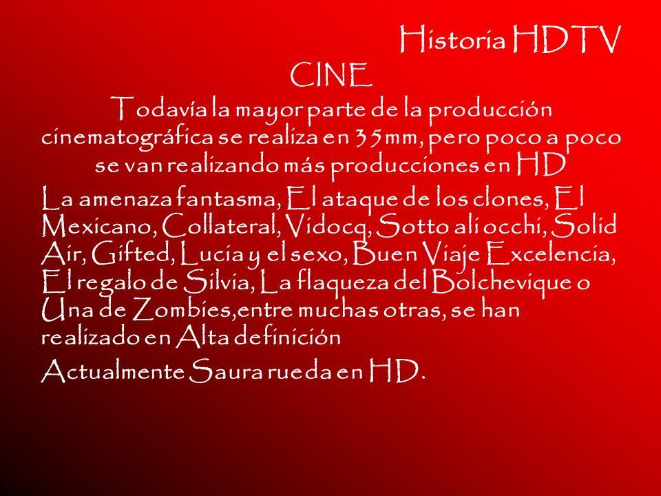 Historia HDTV CINE Todavía la mayor parte de la producción cinematográfica se realiza en 35mm, pero poco a poco se van realizando más producciones en