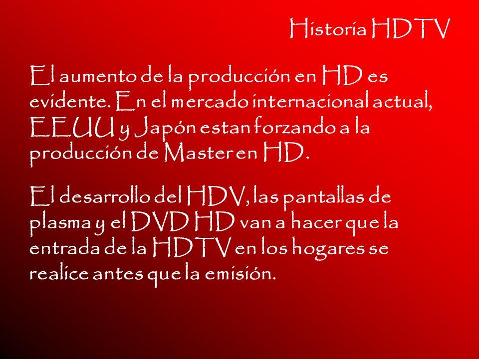 Historia HDTV El aumento de la producción en HD es evidente. En el mercado internacional actual, EEUU y Japón estan forzando a la producción de Master