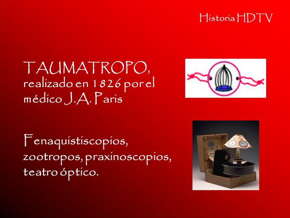 Historia HDTV TAUMATROPO, realizado en 1826 por el médico J.A. Paris Fenaquistiscopios, zootropos, praxinoscopios, teatro óptico.