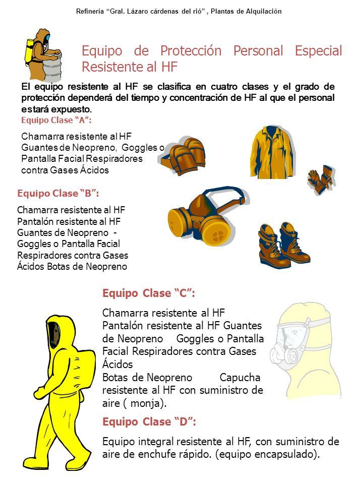 Equipo Clase C: Chamarra resistente al HF Pantalón resistente al HF Guantes de Neopreno Goggles o Pantalla Facial Respiradores contra Gases Ácidos Bot