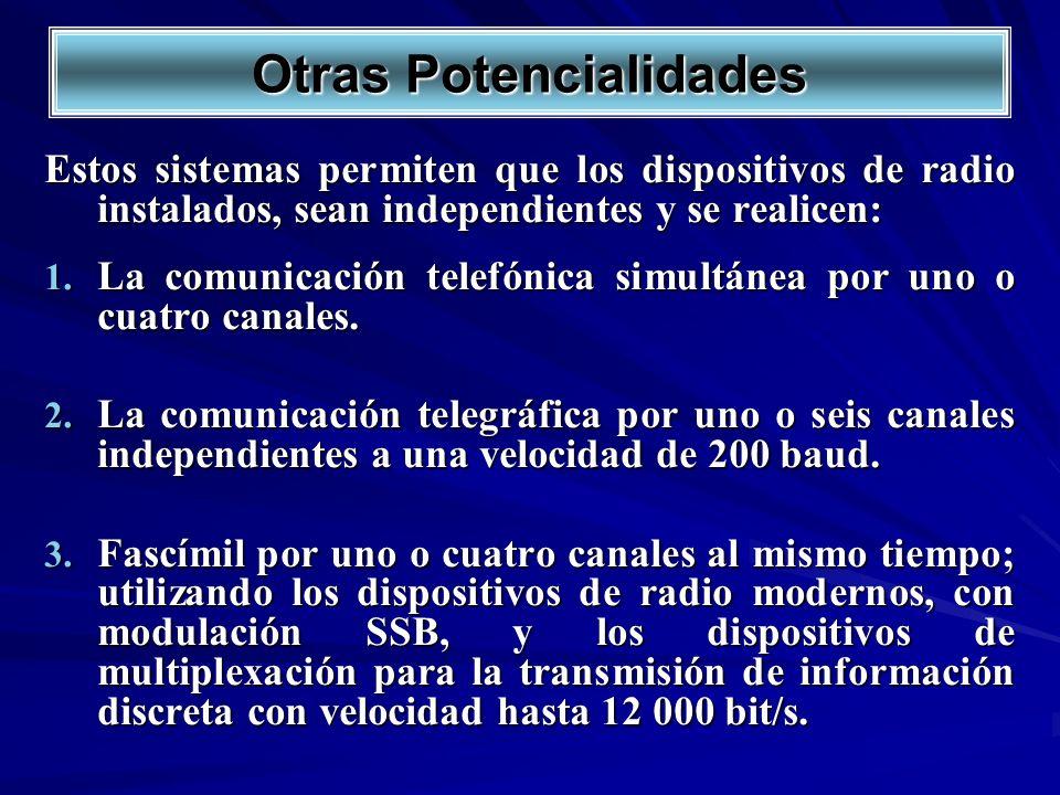 Otras Potencialidades Estos sistemas permiten que los dispositivos de radio instalados, sean independientes y se realicen: 1. La comunicación telefóni