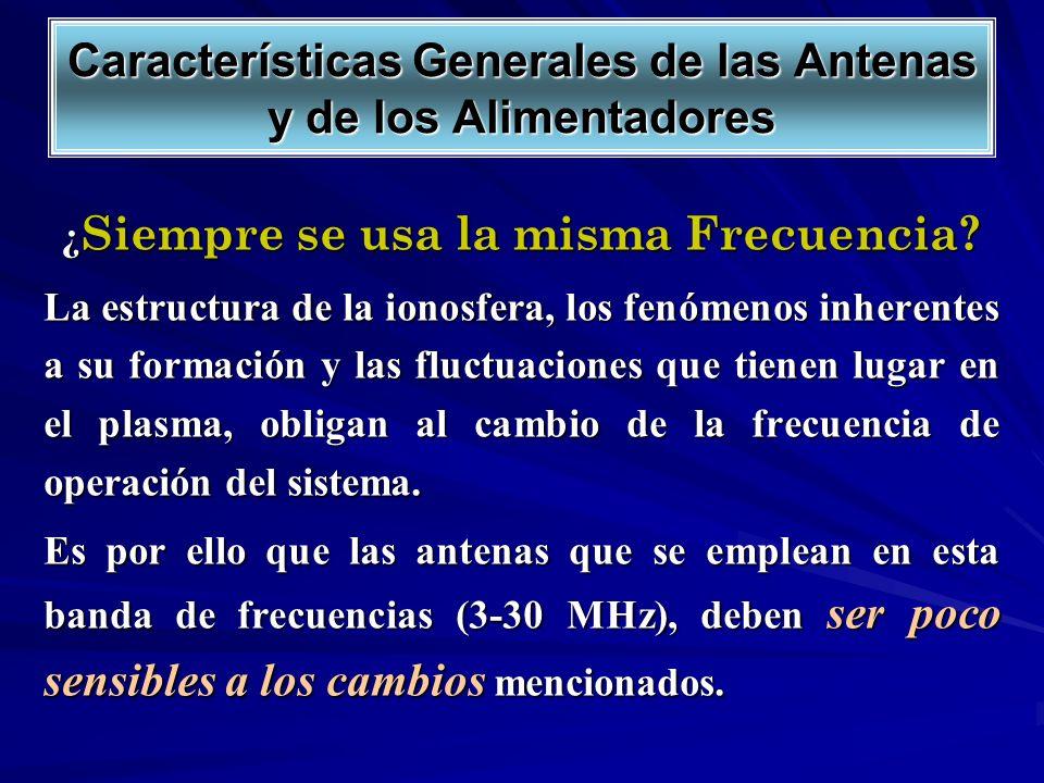 Características Generales de las Antenas y de los Alimentadores ¿ Siempre se usa la misma Frecuencia? La estructura de la ionosfera, los fenómenos inh