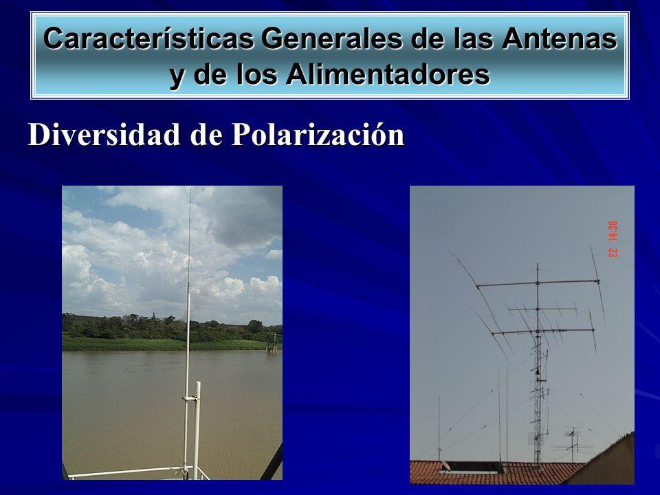 Características Generales de las Antenas y de los Alimentadores Polarización Vertical Polarización Horizontal Diversidad de Polarización