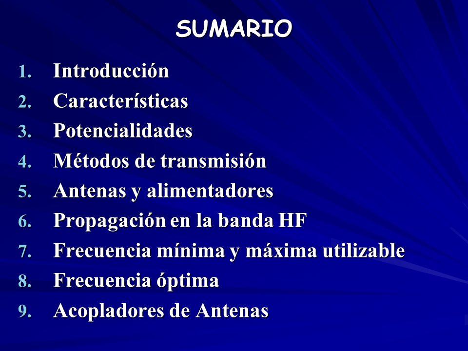 SUMARIO 1. Introducción 2. Características 3. Potencialidades 4. Métodos de transmisión 5. Antenas y alimentadores 6. Propagación en la banda HF 7. Fr