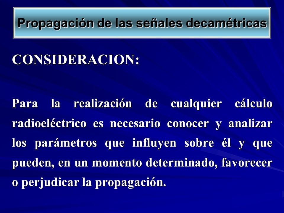 CONSIDERACION: Para la realización de cualquier cálculo radioeléctrico es necesario conocer y analizar los parámetros que influyen sobre él y que pued