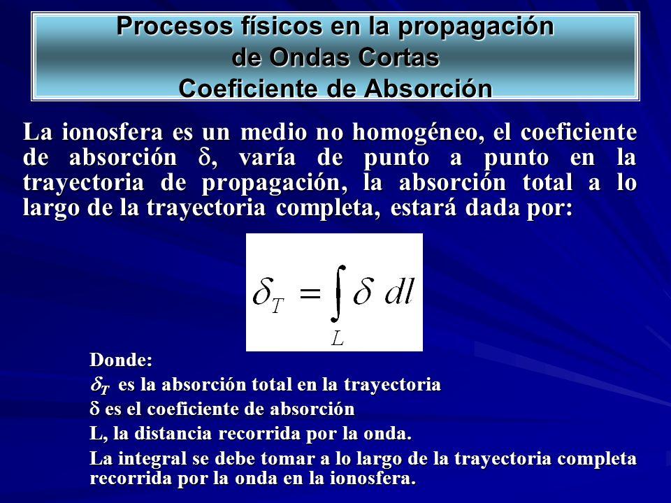 La ionosfera es un medio no homogéneo, el coeficiente de absorción, varía de punto a punto en la trayectoria de propagación, la absorción total a lo l