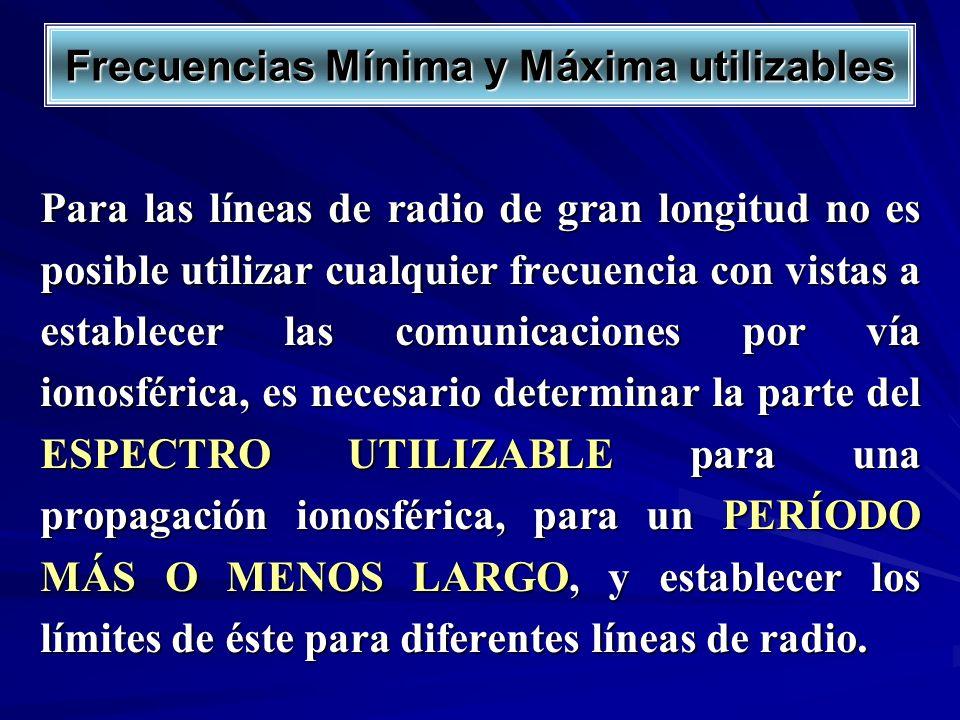 Frecuencias Mínima y Máxima utilizables Para las líneas de radio de gran longitud no es posible utilizar cualquier frecuencia con vistas a establecer