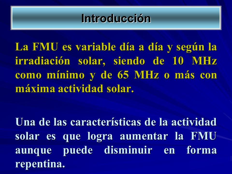 Introducción La FMU es variable día a día y según la irradiación solar, siendo de 10 MHz como mínimo y de 65 MHz o más con máxima actividad solar. Una