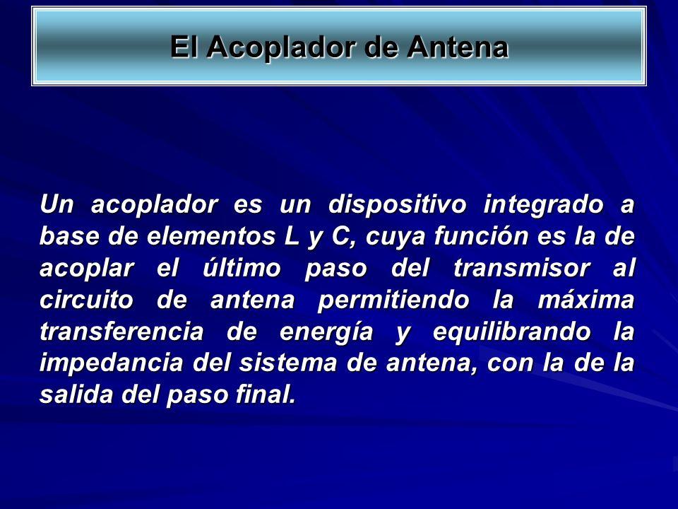 Un acoplador es un dispositivo integrado a base de elementos L y C, cuya función es la de acoplar el último paso del transmisor al circuito de antena