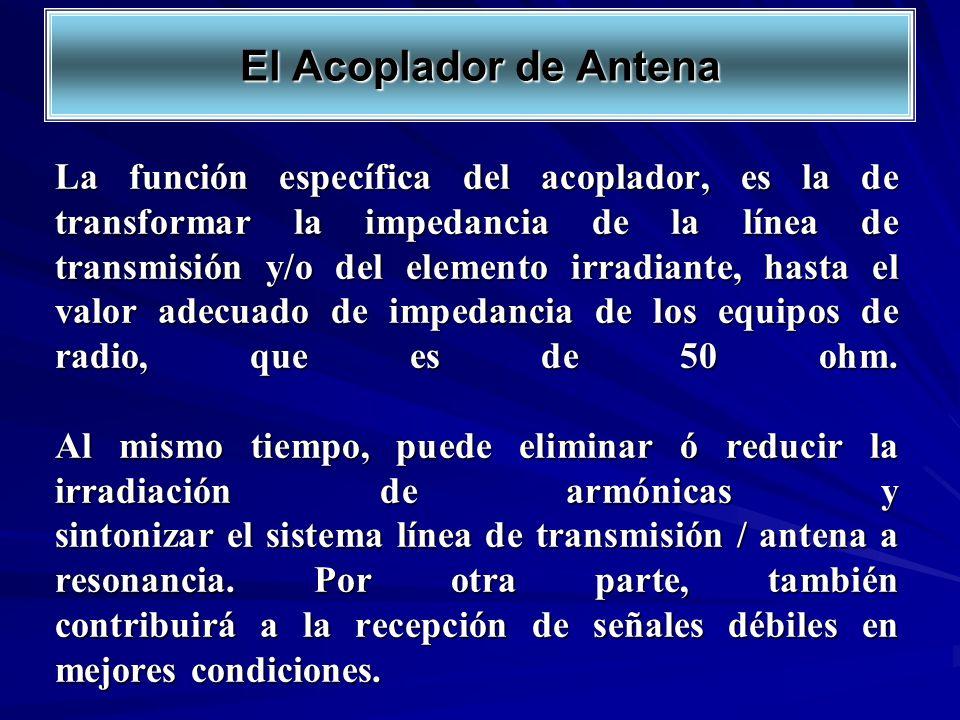 La función específica del acoplador, es la de transformar la impedancia de la línea de transmisión y/o del elemento irradiante, hasta el valor adecuad