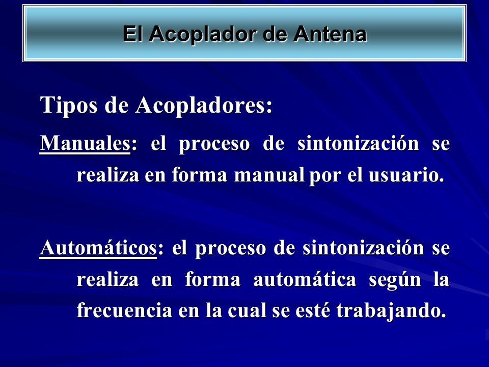 Tipos de Acopladores: Manuales: el proceso de sintonización se realiza en forma manual por el usuario. Automáticos: el proceso de sintonización se rea