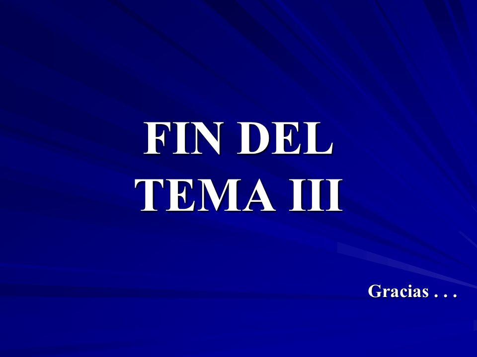 FIN DEL TEMA III Gracias...