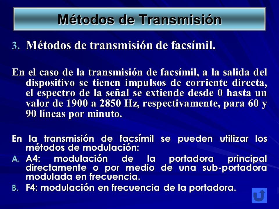 Métodos de transmisión de facsímil. Métodos de transmisión de facsímil. En el caso de la transmisión de facsímil, a la salida del dispositivo se tiene