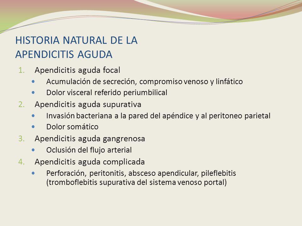 HISTORIA NATURAL DE LA APENDICITIS AGUDA 1. Apendicitis aguda focal Acumulación de secreción, compromiso venoso y linfático Dolor visceral referido pe