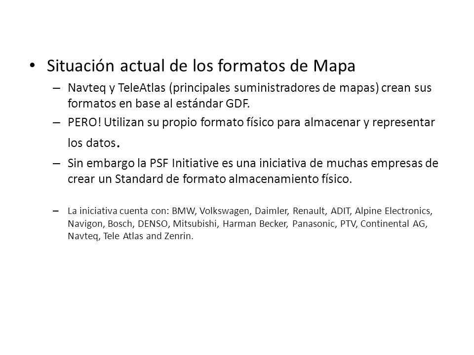 Situación actual de los formatos de Mapa – Navteq y TeleAtlas (principales suministradores de mapas) crean sus formatos en base al estándar GDF. – PER