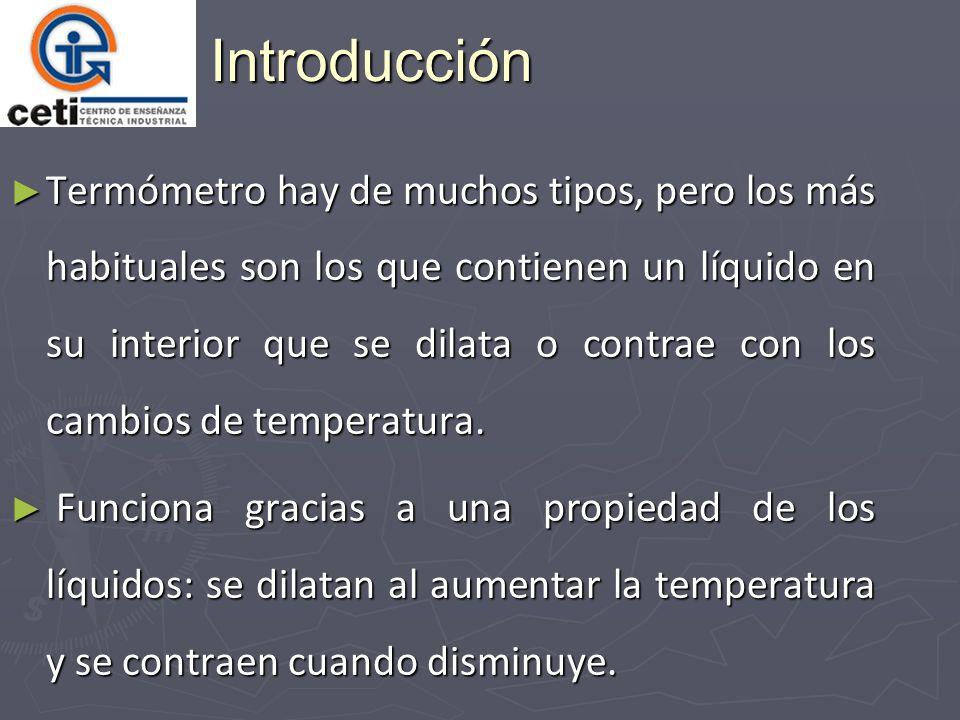 Introducción Termómetro hay de muchos tipos, pero los más habituales son los que contienen un líquido en su interior que se dilata o contrae con los cambios de temperatura.