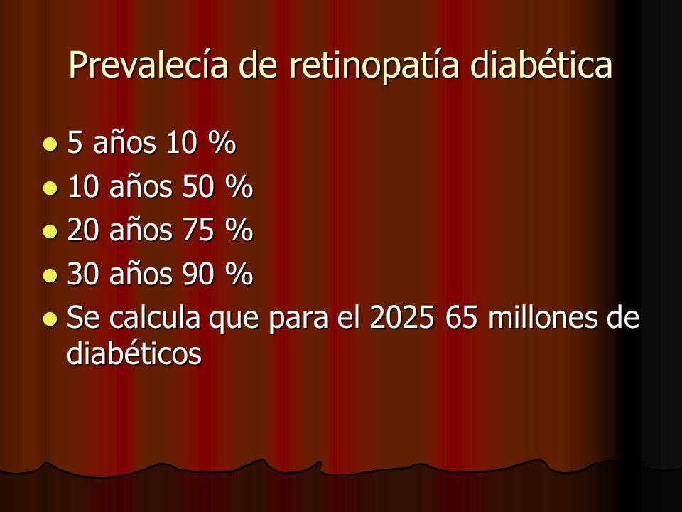Prevalecía de retinopatía diabética 5 años 10 % 5 años 10 % 10 años 50 % 10 años 50 % 20 años 75 % 20 años 75 % 30 años 90 % 30 años 90 % Se calcula q