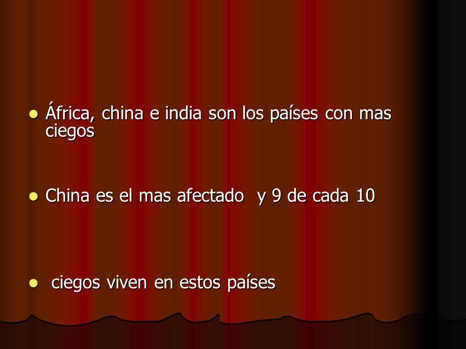 África, china e india son los países con mas ciegos África, china e india son los países con mas ciegos China es el mas afectado y 9 de cada 10 China