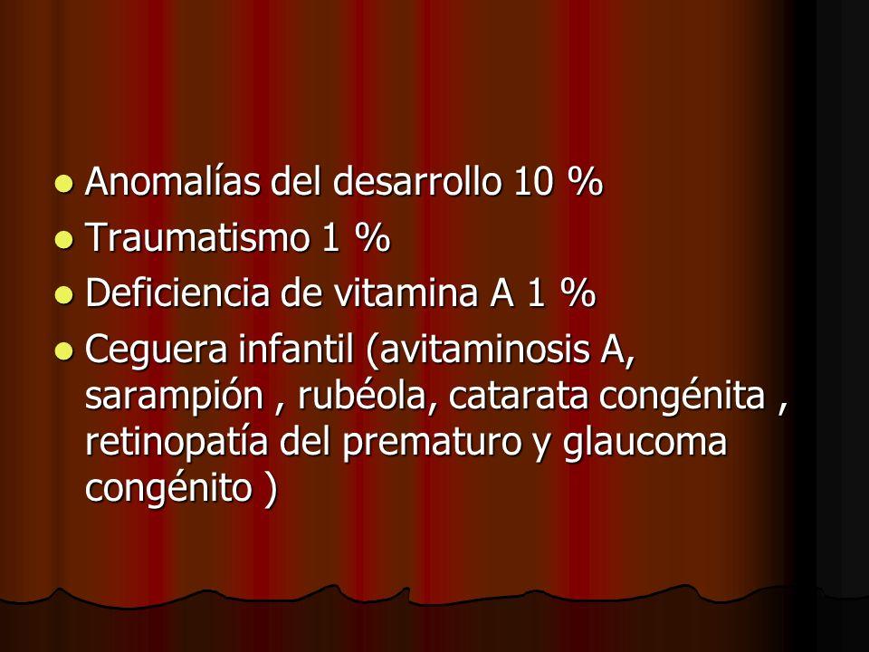 Anomalías del desarrollo 10 % Anomalías del desarrollo 10 % Traumatismo 1 % Traumatismo 1 % Deficiencia de vitamina A 1 % Deficiencia de vitamina A 1
