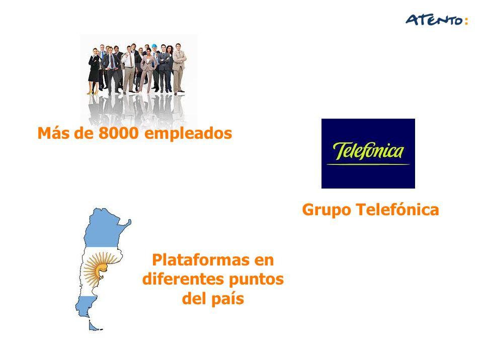 Grupo Telefónica Plataformas en diferentes puntos del país Más de 8000 empleados