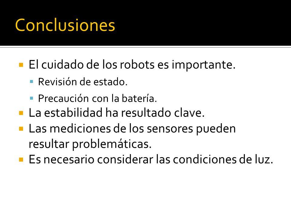 Conclusiones El cuidado de los robots es importante. Revisión de estado. Precaución con la batería. La estabilidad ha resultado clave. Las mediciones