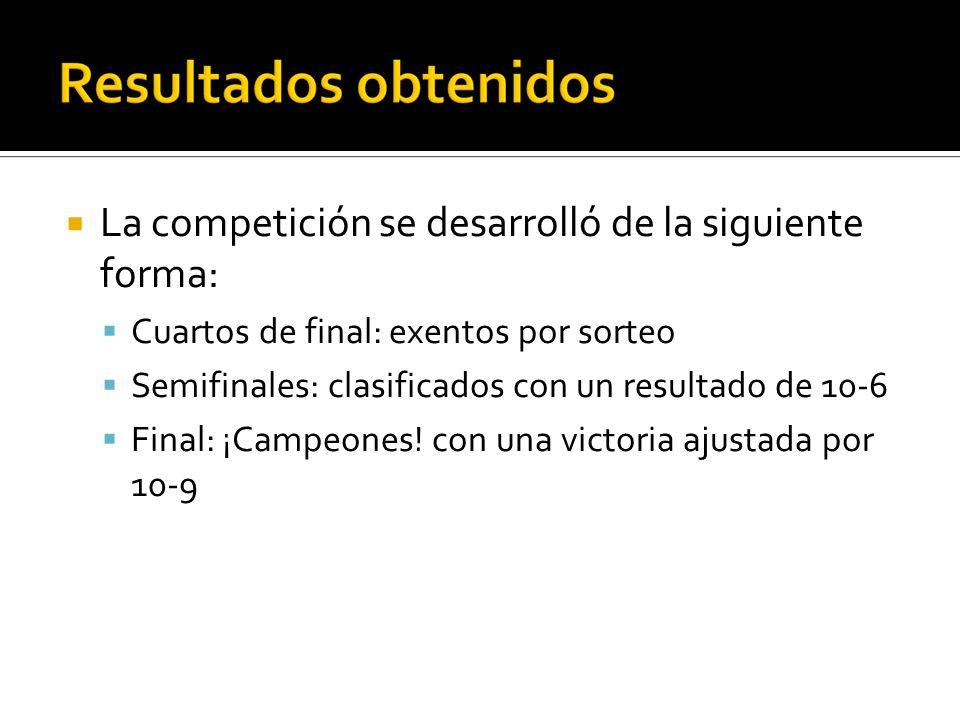 La competición se desarrolló de la siguiente forma: Cuartos de final: exentos por sorteo Semifinales: clasificados con un resultado de 10-6 Final: ¡Ca