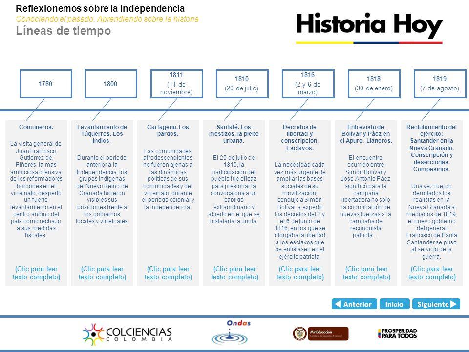 Reflexionemos sobre la Independencia Conociendo el pasado. Aprendiendo sobre la historia Líneas de tiempo Descargar línea de tiempo personal / Siguien