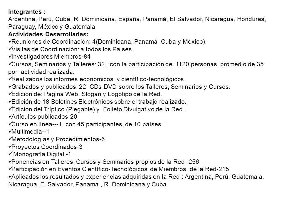 Integrantes : Argentina, Perú, Cuba, R. Dominicana, España, Panamá, El Salvador, Nicaragua, Honduras, Paraguay, México y Guatemala. Actividades Desarr