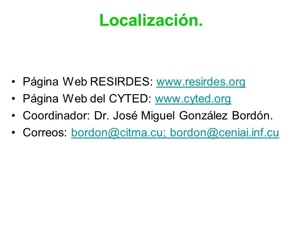 Localización. Página Web RESIRDES: www.resirdes.orgwww.resirdes.org Página Web del CYTED: www.cyted.orgwww.cyted.org Coordinador: Dr. José Miguel Gonz