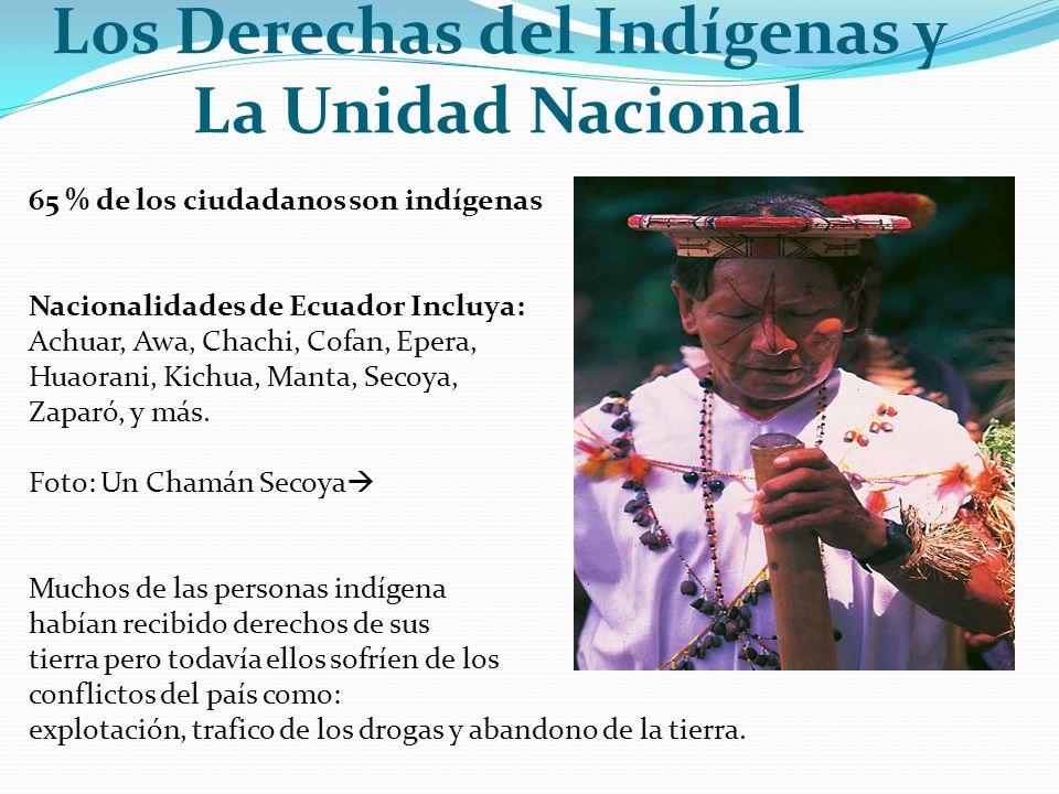 Los Derechas del Indígenas y La Unidad Nacional 65 % de los ciudadanos son indígenas Nacionalidades de Ecuador Incluya: Achuar, Awa, Chachi, Cofan, Ep
