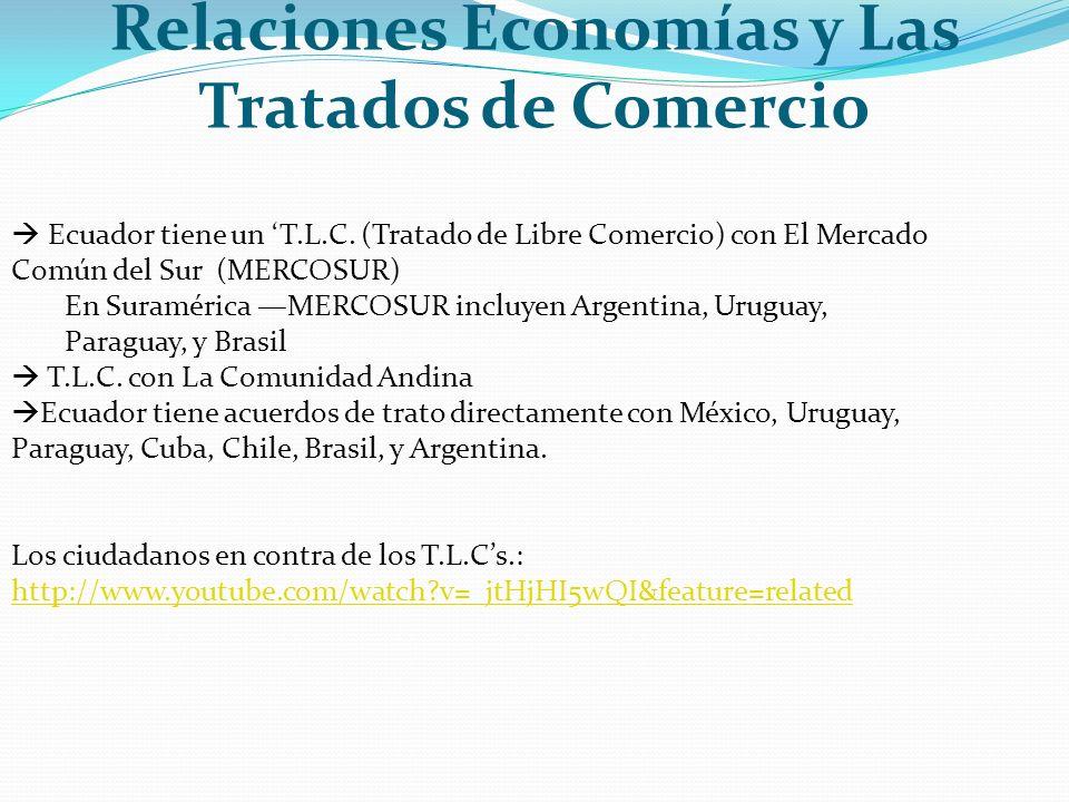 Relaciones Economías y Las Tratados de Comercio Ecuador tiene un T.L.C. (Tratado de Libre Comercio) con El Mercado Común del Sur (MERCOSUR) En Suramér