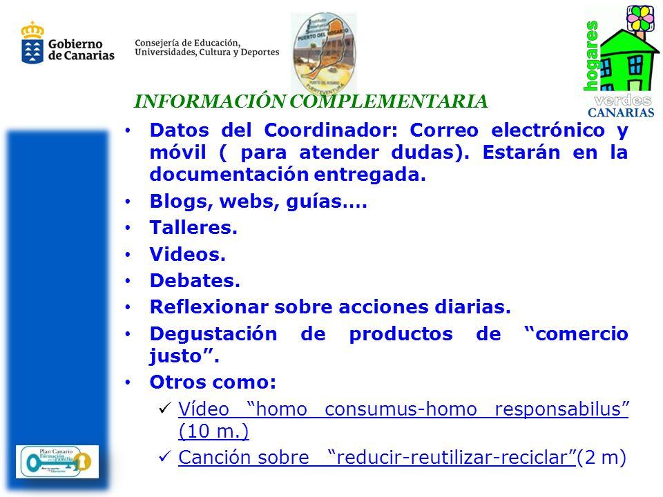 Datos del Coordinador: Correo electrónico y móvil ( para atender dudas).