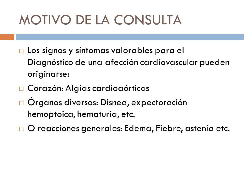 MOTIVO DE LA CONSULTA Los signos y síntomas valorables para el Diagnóstico de una afección cardiovascular pueden originarse: Corazón: Algias cardioaór