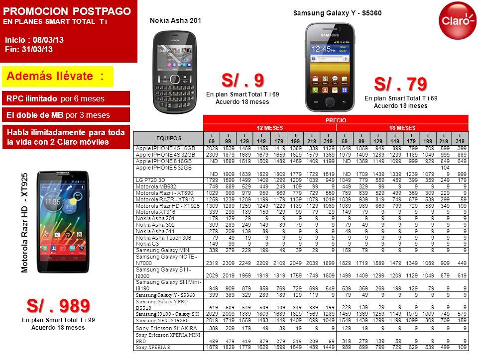 PROMOCION POSTPAGO EN PLANES SMART MESSAGING T Además llévate : RPC ilimitado por 6 meses Habla ilimitadamente para toda la vida con 2 Claro móviles Nokia C3 S/.159 S/.