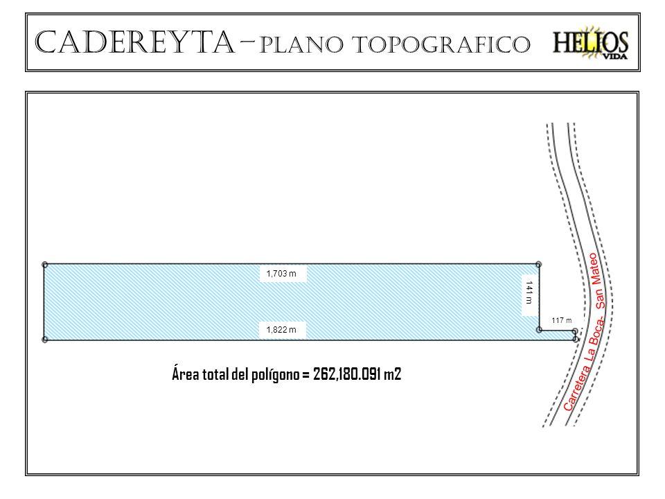 Cadereyta – plano TOPOGRAFICO La Boca- San Mateo Carretera 1,703 m 1,822 m 141 m 117 m Área total del polígono = 262,180.091 m2