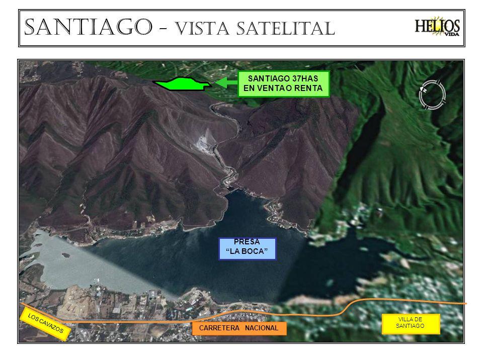CARRETERA NACIONAL PRESA LA BOCA VILLA DE SANTIAGO LOS CAVAZOS Santiago - VISTA Satelital SANTIAGO 37HAS EN VENTA O RENTA