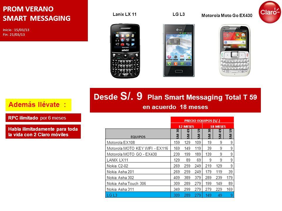 PROM VERANO SMART MESSAGING Inicio : 15/03/13 Fin: 21/03/13 LG L3 Motorola Moto Go EX430 Desde S/.