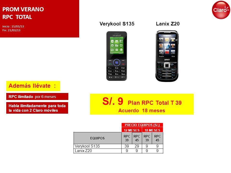 PROM VERANO RPC TOTAL Inicio : 15/03/13 Fin: 21/03/13 S/.